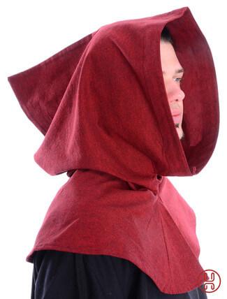 Mittelalter Kapuze aus Baumwolle in rot Seitenansicht