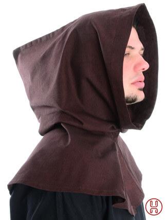 Mittelalter Kapuze aus Baumwolle in braun Seitenansicht