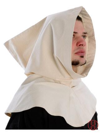 Mittelalter Kapuze aus Baumwolle in natur-beige Seitenansicht