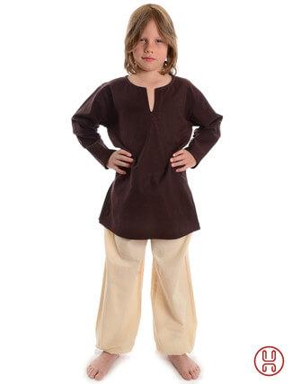 Mittelalter Kinder Tunika Hemd braun - Frontansicht