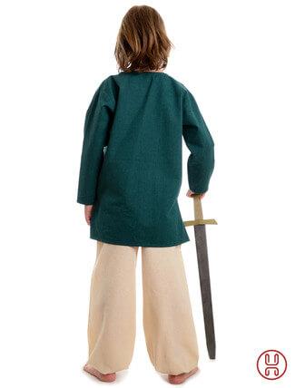 Mittelalter Kinder Tunika Hemd grün - Rückansicht