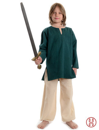 Mittelalter Kinder Tunika Hemd grün - Frontansicht