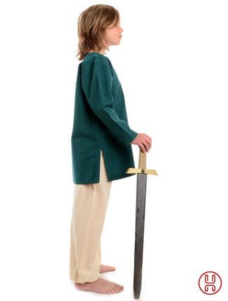 Mittelalter Kinder Tunika Hemd grün - Seitenansicht