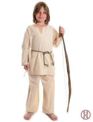 Mittelalter Kinder Tunika Hemd beige - Frontansicht