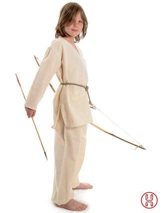 Mittelalter Kinder Tunika Hemd beige - Seitenansicht
