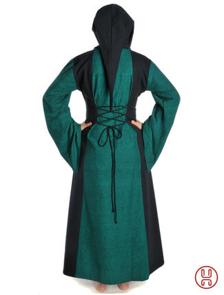 Mittelalter Kleid mit Gugel-Kapuze grün-schwarz - Rückansicht