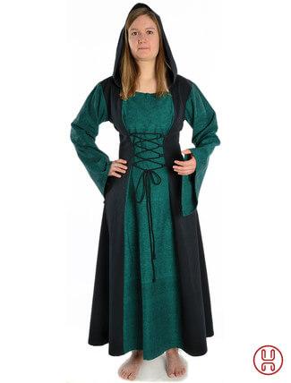 Mittelalter Kleid mit Gugel-Kapuze grün-schwarz - Frontansicht