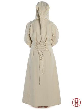 Mittelalter Kleid mit Gugel-Kapuze beige - Rückansicht