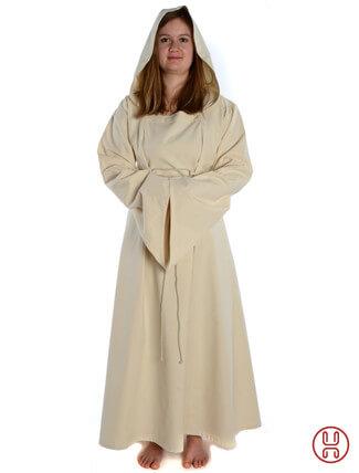 Mittelalter Kleid mit Gugel-Kapuze beige