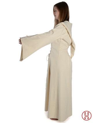 Mittelalter Kleid mit Gugel-Kapuze beige - Seitenansicht