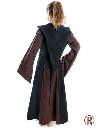 Mittelalter Kleid mit Gugel-Kapuze braun-schwarz - Rückansicht