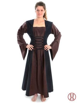Mittelalter Kleid mit Gugel-Kapuze braun-schwarz - Frontansicht