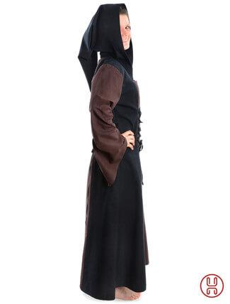 Mittelalter Kleid mit Gugel-Kapuze braun-schwarz - Seitenansicht