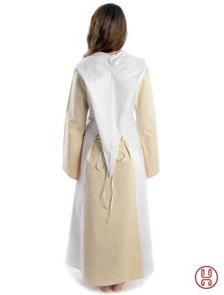 Mittelalter Kleid mit Gugel-Kapuze beige-weiss - Rückansicht