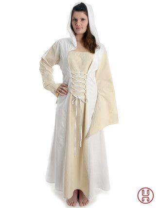 Mittelalter Kleid mit Gugel-Kapuze beige-weiss - Frontansicht