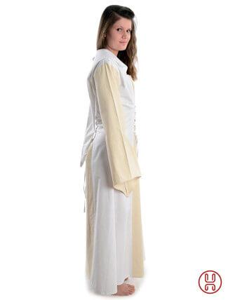 Mittelalter Kleid mit Gugel-Kapuze beige-weiss - Seitenansicht