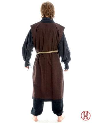 Mittelalter Mantel Wams Herold braun - schwarz Rückansicht