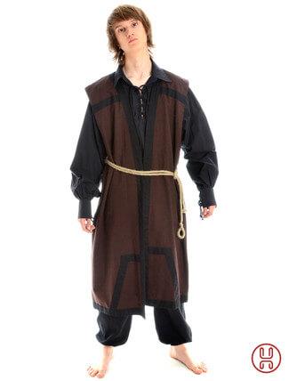 Mittelalter Mantel Wams Herold braun - schwarz Frontansicht