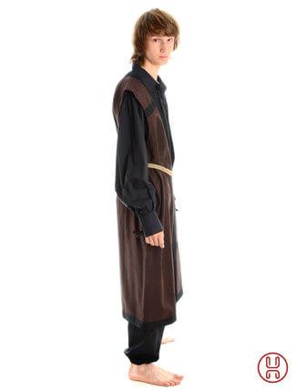 Mittelalter Mantel Wams Herold braun - schwarz Seitenansicht