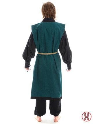 Mittelalter Mantel Wams Herold grün - schwarz Rückansicht