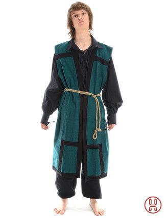 Mittelalter Mantel Wams Herold grün - schwarz Frontansicht