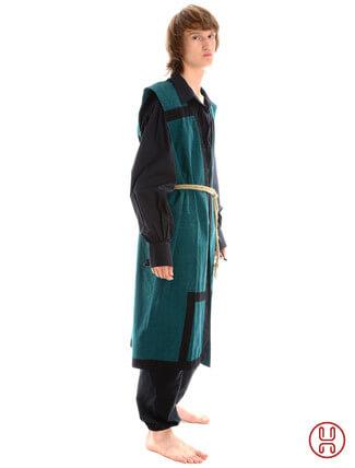 Mittelalter Mantel Wams Herold grün - schwarz Seitenansicht