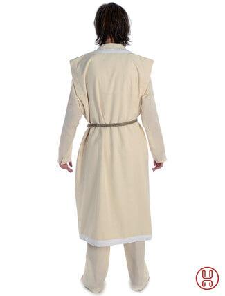 Mittelalter Mantel Wams Herold beige - weiss Rückansicht