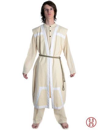 Mittelalter Mantel Wams Herold beige - weiss Frontansicht