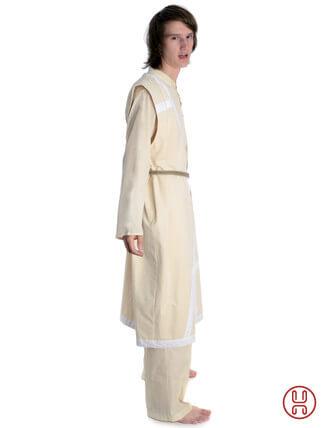 Mittelalter Mantel Wams Herold beige - weiss Seitenansicht