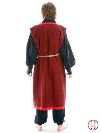 Mittelalter Mantel Wams Herold rot - rot Rückansicht