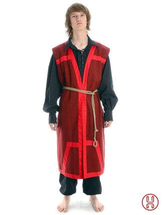 Mittelalter Mantel Wams Herold rot - rot Frontansicht