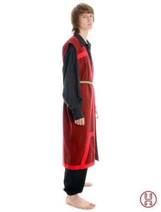 Mittelalter Mantel Wams Herold rot - rot Seitenansicht