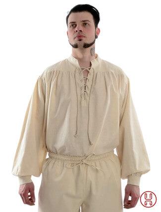 Mittelalter Hemd Schnürhemd in natur-beige - Frontansicht