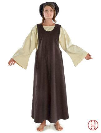 Mittelalter Überkleid in braun - Frontansicht