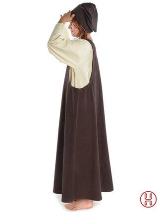 Mittelalter Überkleid in braun - Seitenansicht