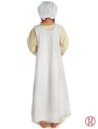 Mittelalter Überkleid in weiss - Rückansicht