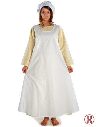 Mittelalter Überkleid in weiss - Frontansicht