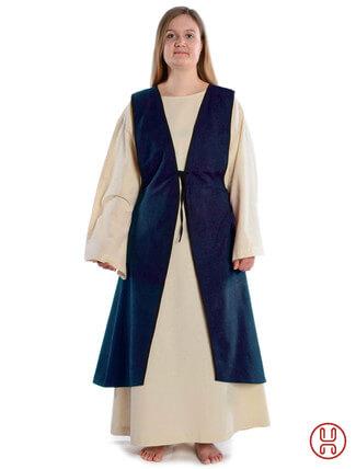 Mittelalter Überkleid vorn zum Schnüren in blau - Frontansicht