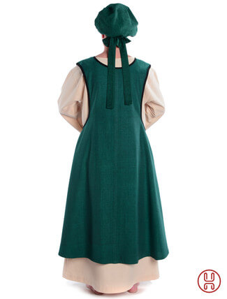 Mittelalter Überkleid vorn zum Schnüren in grün - Rückansicht