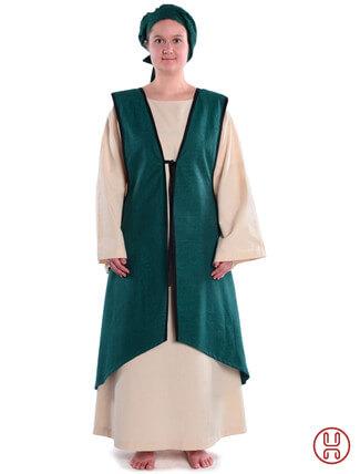 Mittelalter Überkleid vorn zum Schnüren in grün - Frontansicht