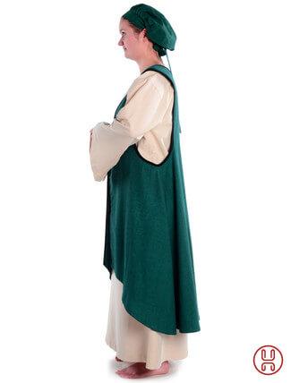 Mittelalter Überkleid vorn zum Schnüren in grün - Seitenansicht
