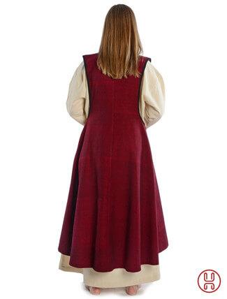Mittelalter Überkleid vorn zum Schnüren in rot - Rückansicht