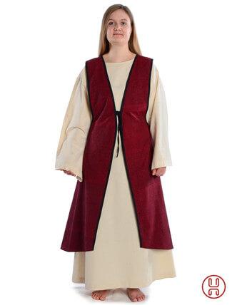 Mittelalter Überkleid vorn zum Schnüren in rot - Frontansicht