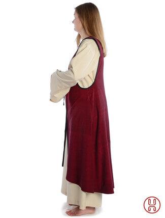 Mittelalter Überkleid vorn zum Schnüren in rot - Seitenansicht