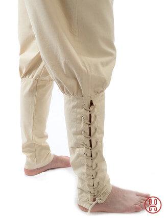 Wikingerhose Rushose in Baumwolle natur-beige - Detailansicht