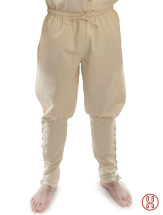 Wikingerhose Rushose in Baumwolle natur-beige - Frontansicht