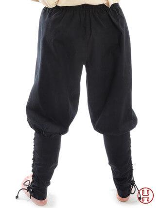 Wikingerhose Rushose in Baumwolle schwarz - Rueckansicht