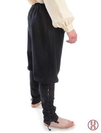 Wikingerhose Rushose in Baumwolle schwarz - Seitenansicht
