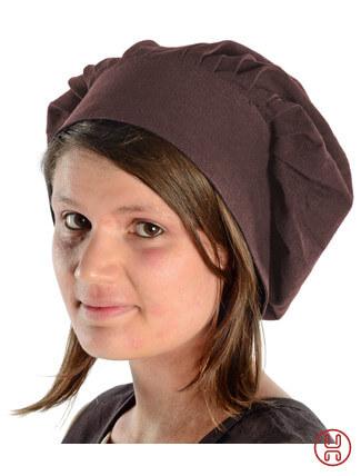 Mittelalter Haube mit Schild Baumwolle braun - Frontansicht