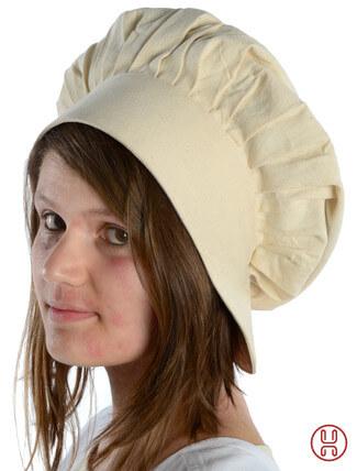 Mittelalter Haube mit Schild Baumwolle natur-beige - Seitenansicht